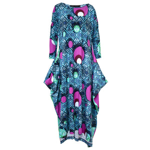 Tiffany Treloar Print Cotton Zero Dress Blue Diamond Spot Front