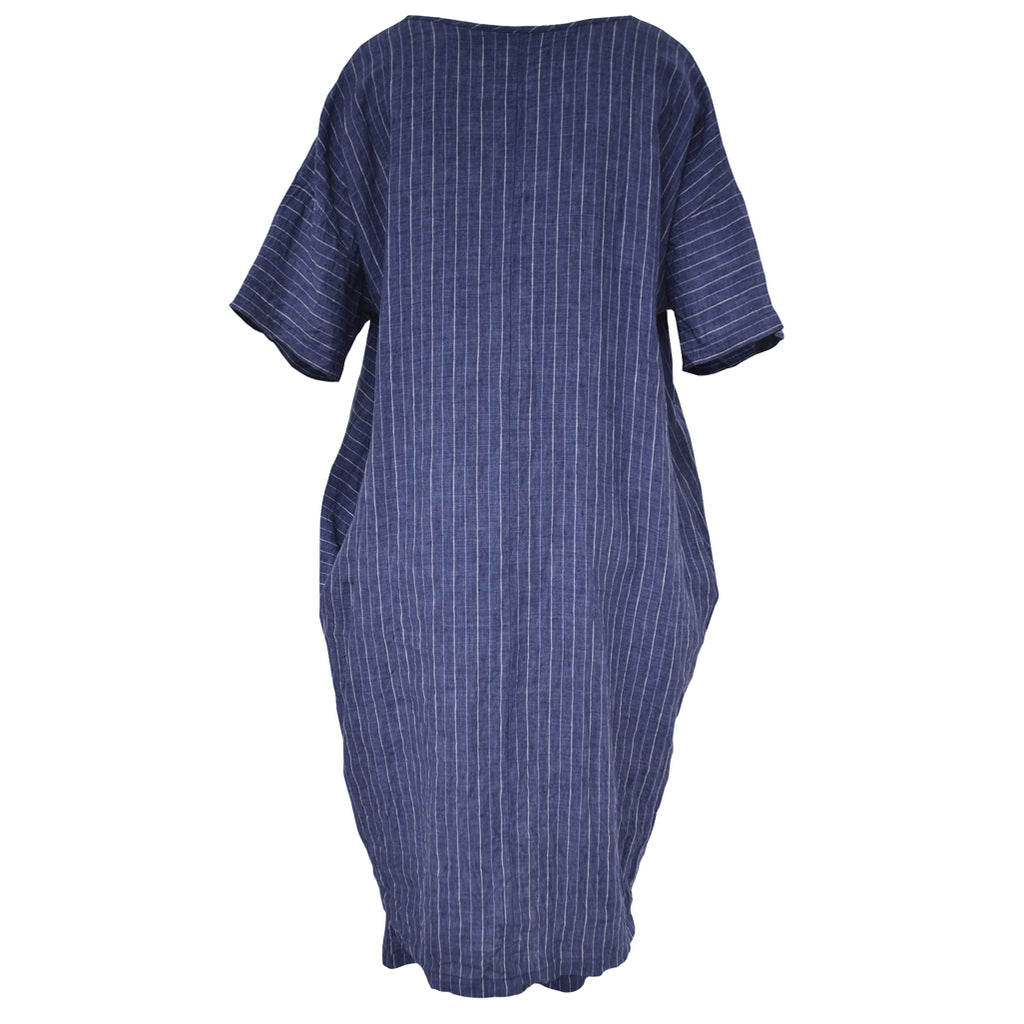 Tiffany Treloar Chess Denim Stripe Italian Linen Dress Back