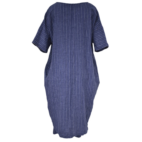 Tiffany Treloar, Chess Denim Stripe Italian Linen Dress - Tiffany Treloar