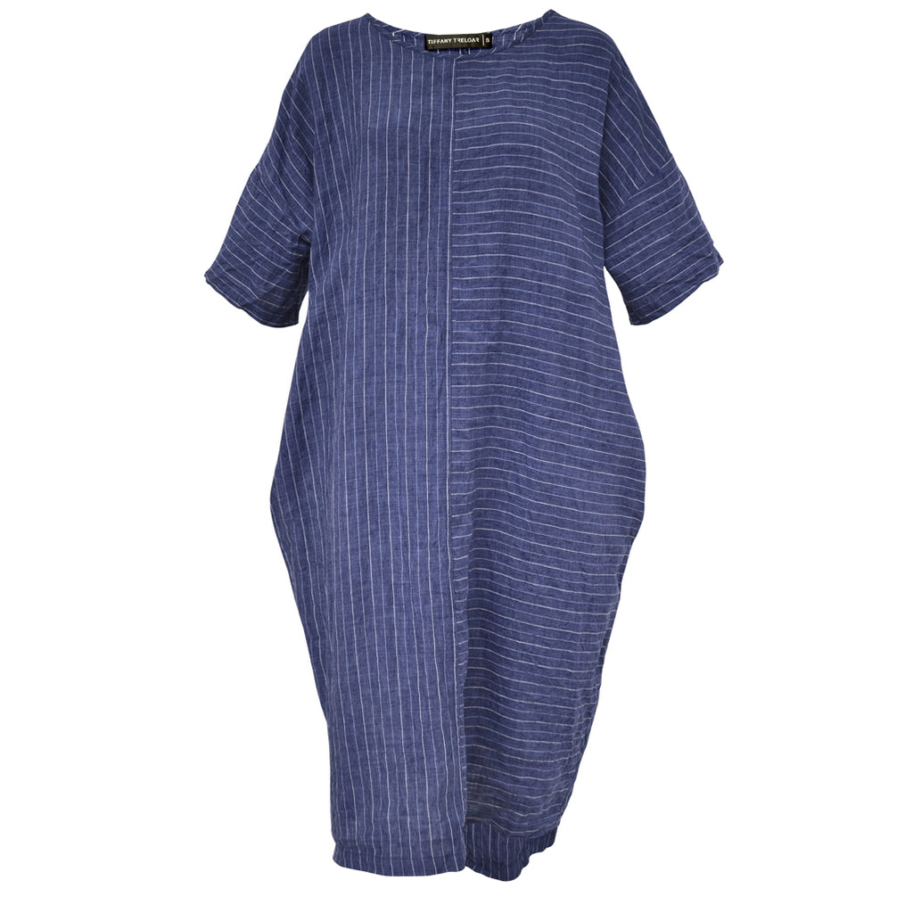Tiffany Treloar Chess Denim Stripe Italian Linen Dress Front