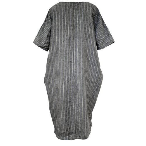 Tiffany Treloar, Chess Charcoal Stripe Italian Linen Dress - Tiffany Treloar