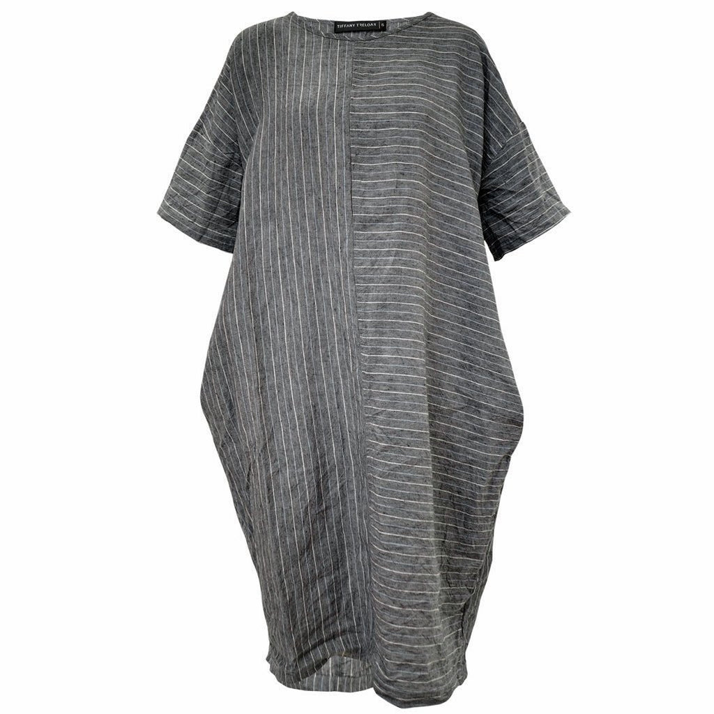 Tiffany Treloar Chess Grey Stripe Italian Linen Dress Front