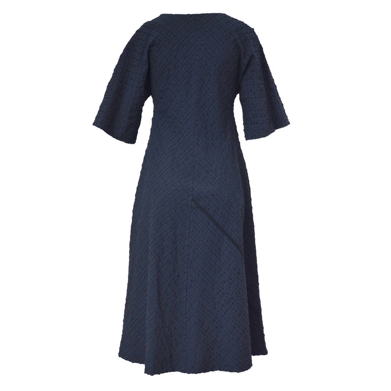 Tiffany Treloar Seersucker Dress Navy Back