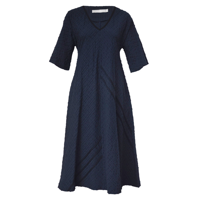 Tiffany Treloar Seersucker Dress Navy Front