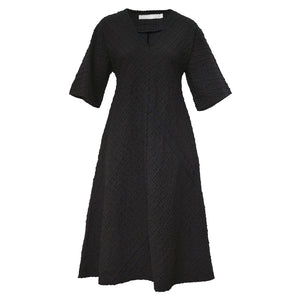 Tiffany Treloar Seersucker Dress Black Front
