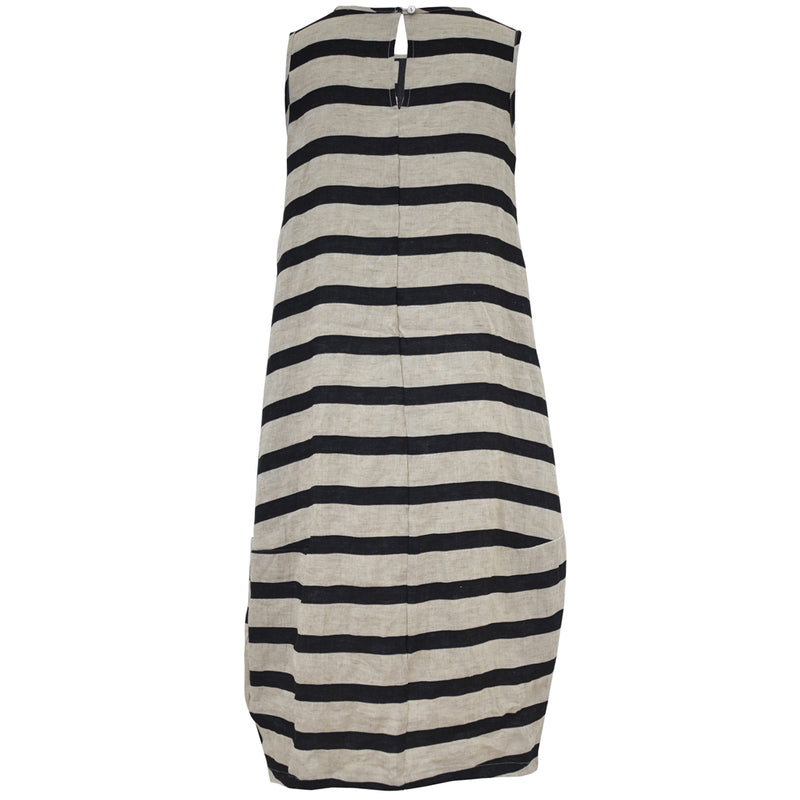 Tiffany Treloar Black Stripe Italian Linen Dress Back