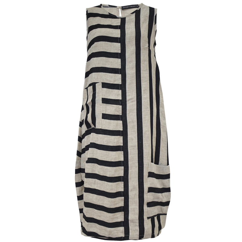 Tiffany Treloar Black Stripe Italian Linen Dress Front