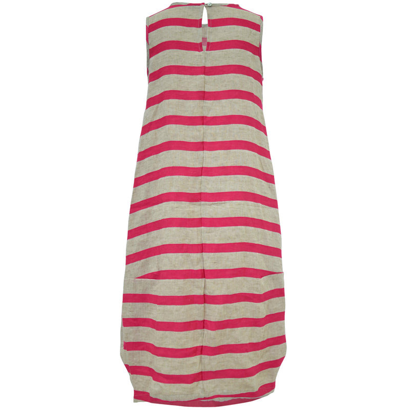 Tiffany Treloar Pink Stripe Italian Linen Dress Back