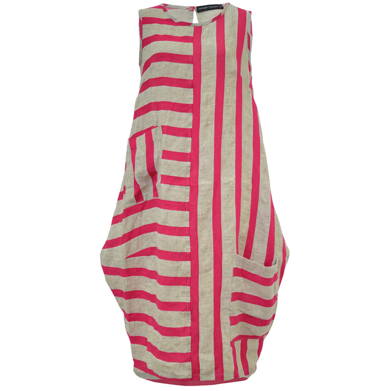 Tiffany Treloar Pink Stripe Italian Linen Dress Front