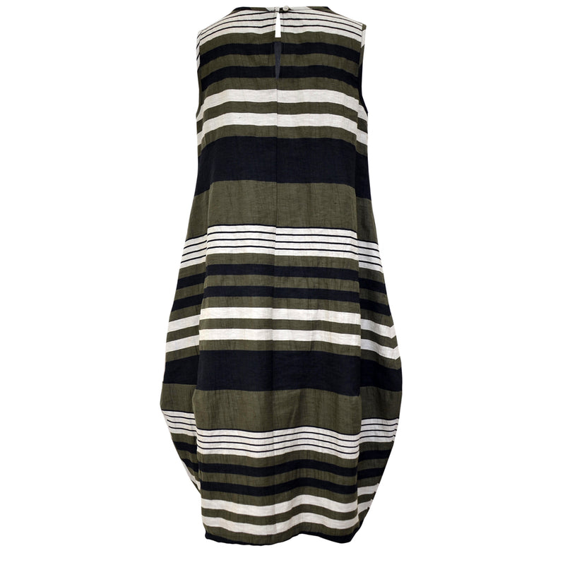 Tiffany Treloar Italian Linen Bop Dress Khaki Stripe Back