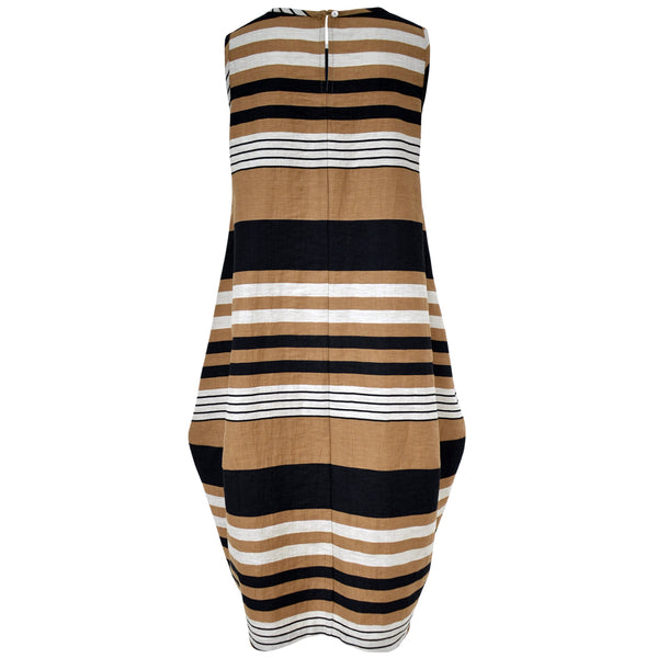 Tiffany Treloar Black & Tan Stripe Italian Linen Dress Back