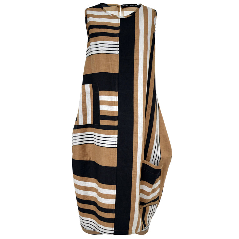 Tiffany Treloar Black & Tan Stripe Italian Linen Dress Front