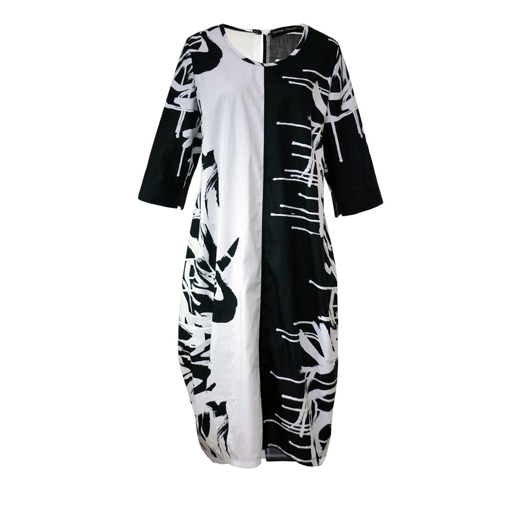 Tiffany Treloar Cotton Bop Dress Black-White Paintbrush Front