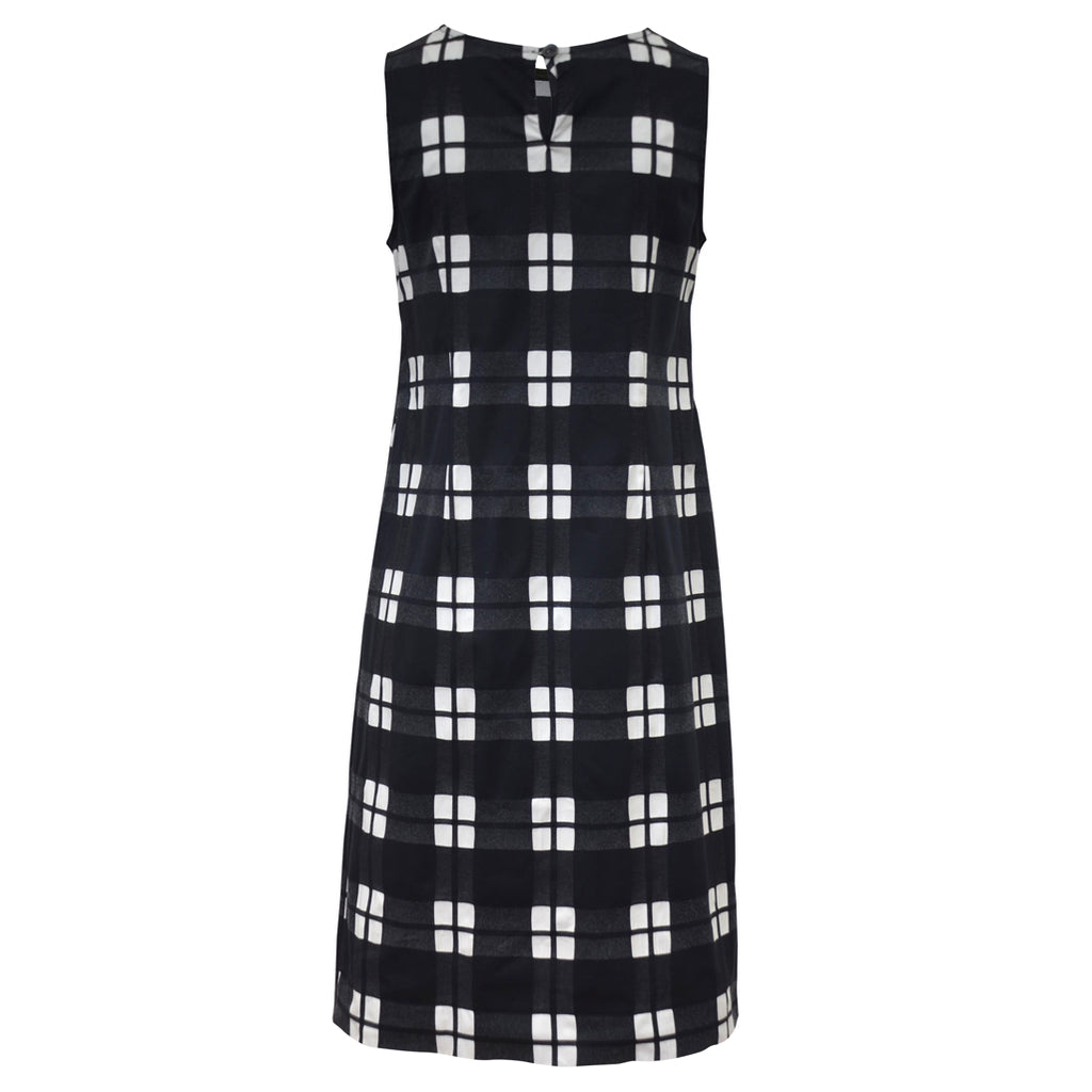 Tiffany Treloar Cotton Shift Dress Black Check Back