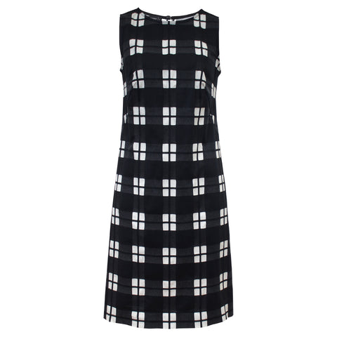 Tiffany Treloar Cotton Shift Dress Black Check Front