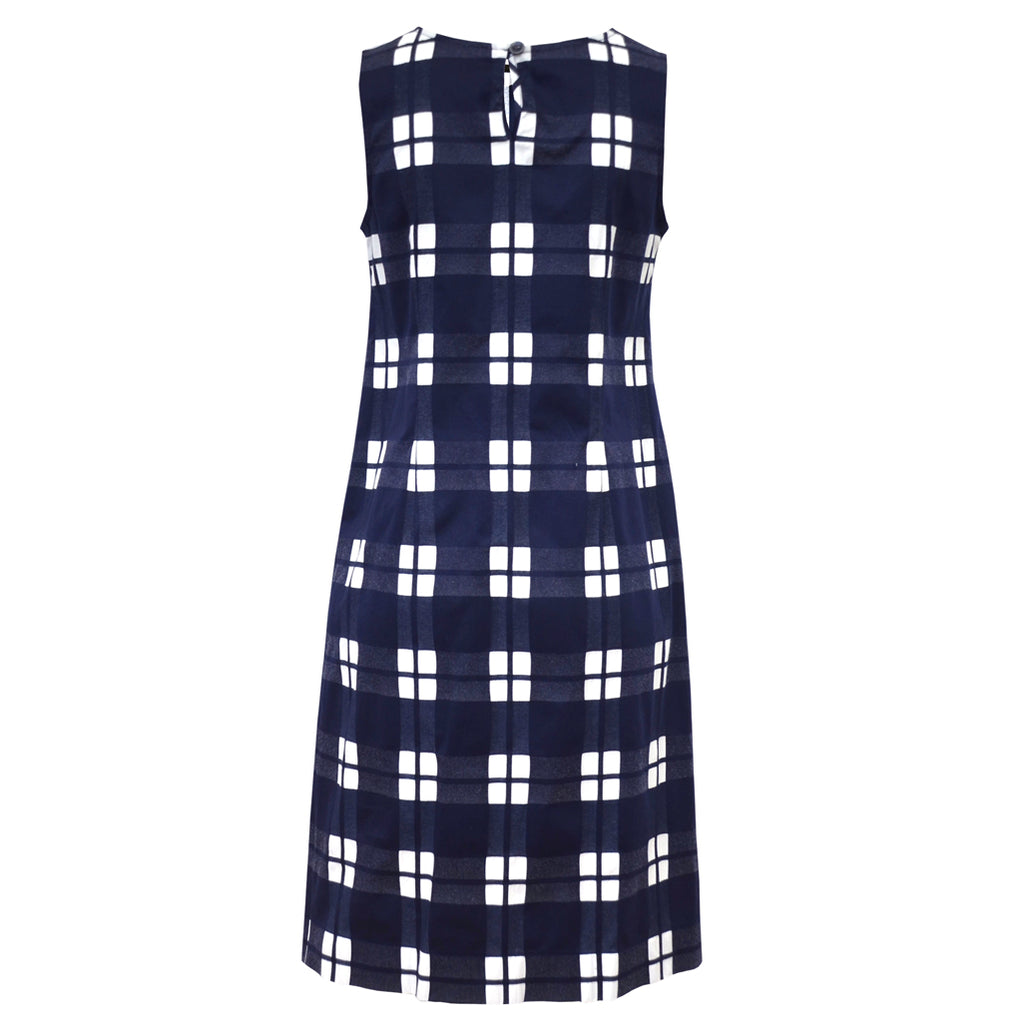 Tiffany Treloar Cotton Shift Dress Navy Check Back