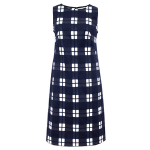 Tiffany Treloar Cotton Shift Dress Navy Check Front