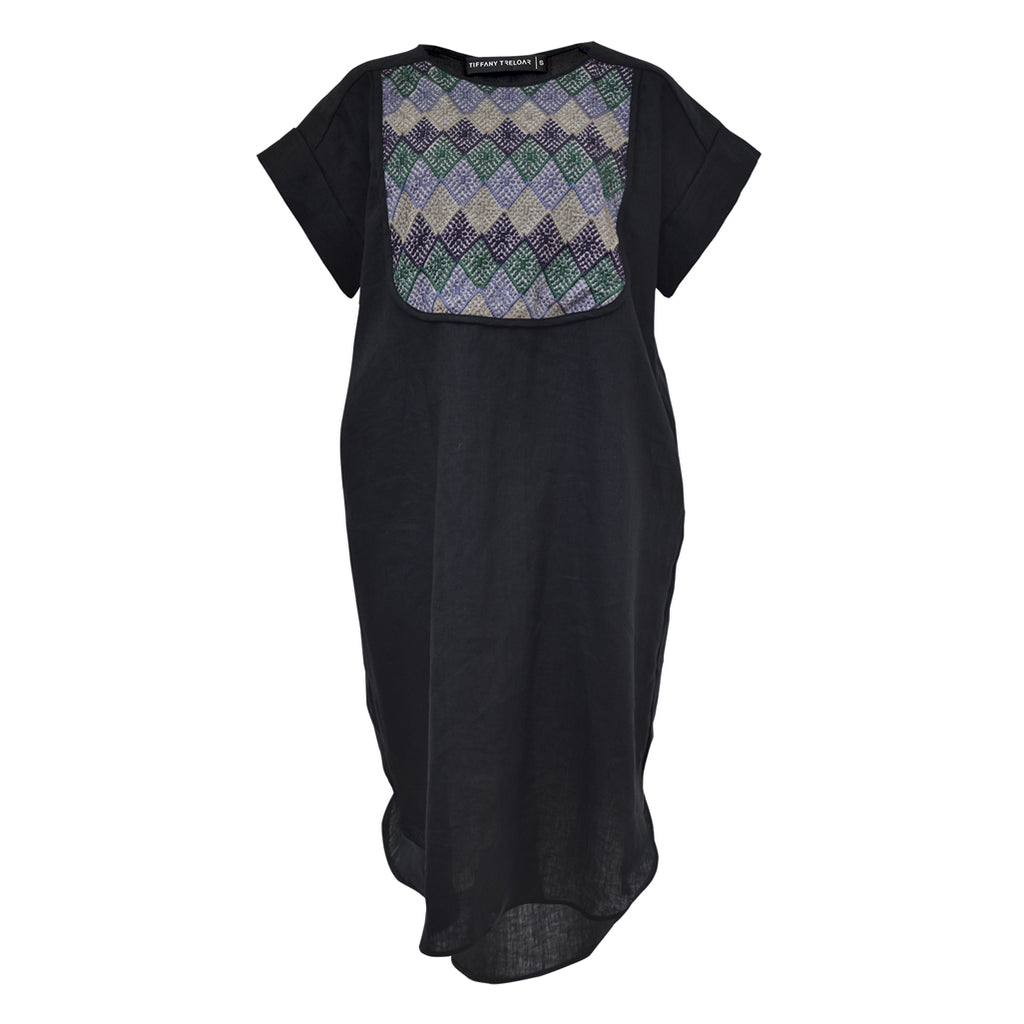 Tiffany Treloar, Black Linen Dress w/ Embroidery Bib - Tiffany Treloar