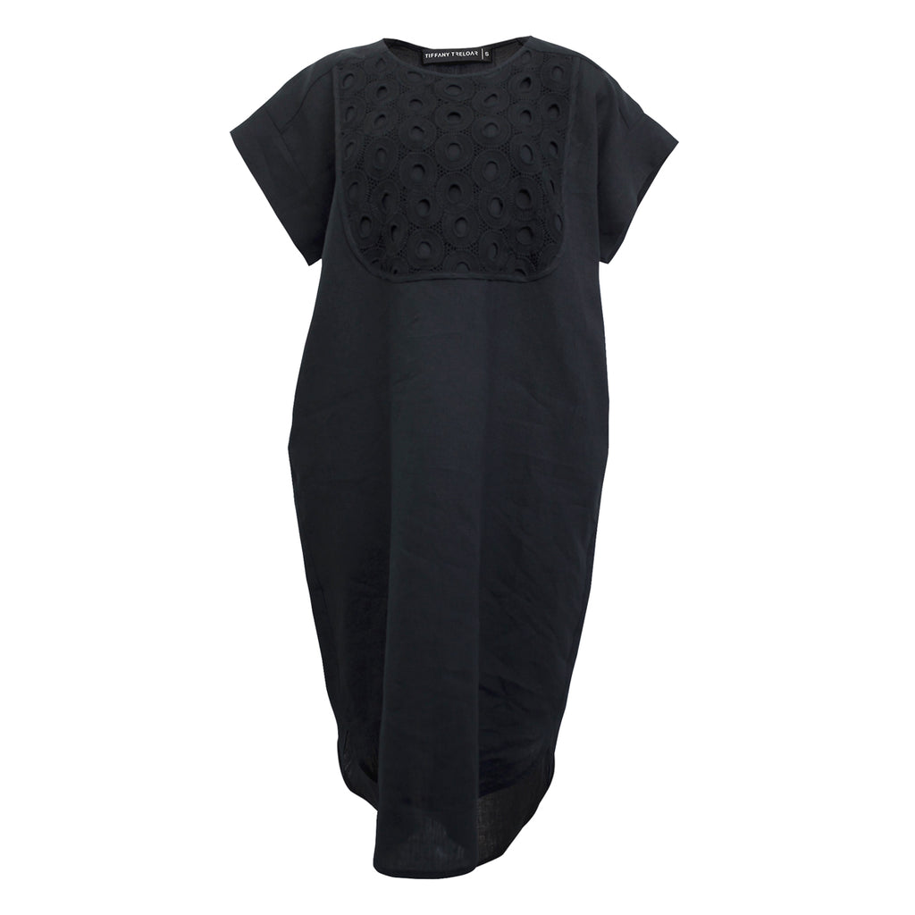 Tiffany Treloar 4283 Black Linen Dress w/ Circle Embroidery Bib