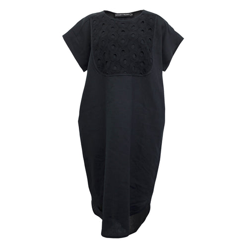 Tiffany Treloar, Black Linen Dress w/ Circles Embroidery Bib - Tiffany Treloar