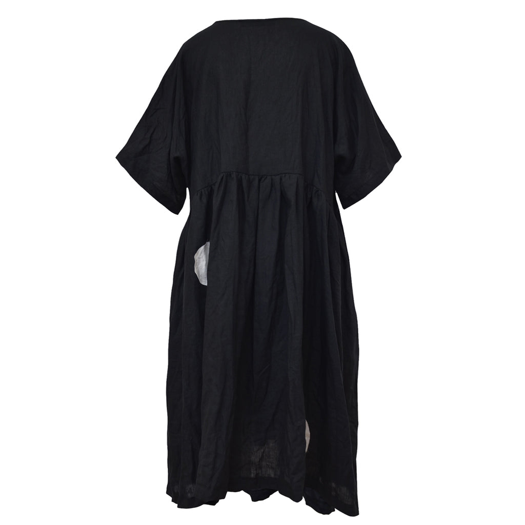 Tiffany Treloar Linen Gathered Dress Black Back