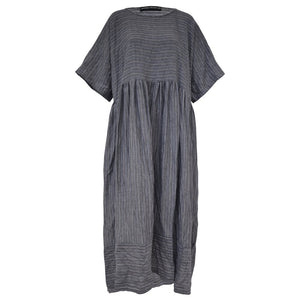 Tiffany Treloar Charcoal Fine Stripe Italian Linen Oversize Dress Front