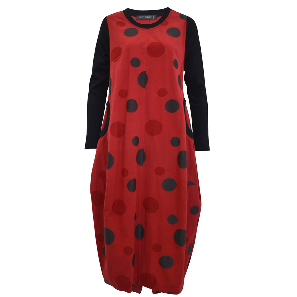 Tiffany Treloar Embroidered Red Cotton Linen Dress Front