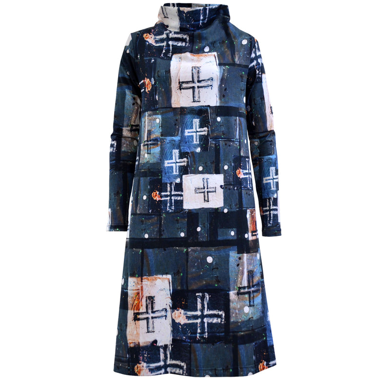 Linen Box Dress Navy Ticking