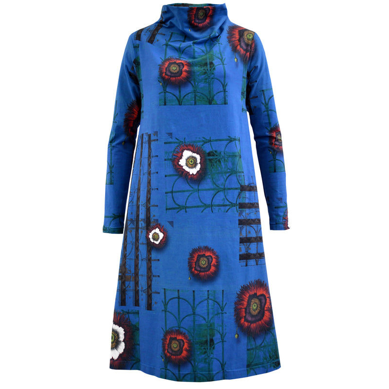 Printed Silk Tunic Dress Ink Blue