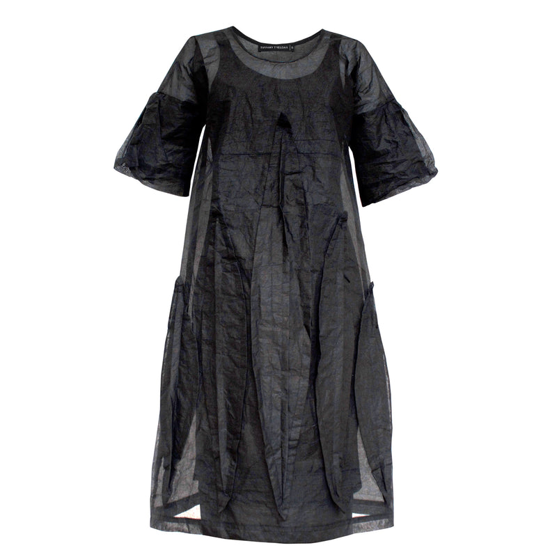 Coated Textured Cotton Overall Dress LB M19-410