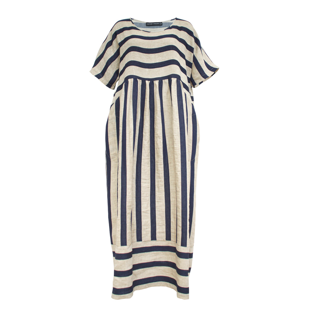 Tiffany Treloar, Half Moon Ink Stripe Linen Dress - Tiffany Treloar