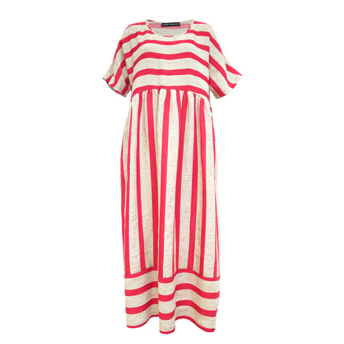 Tiffany Treloar, Half Moon Pink Stripe Linen Dress - Tiffany Treloar