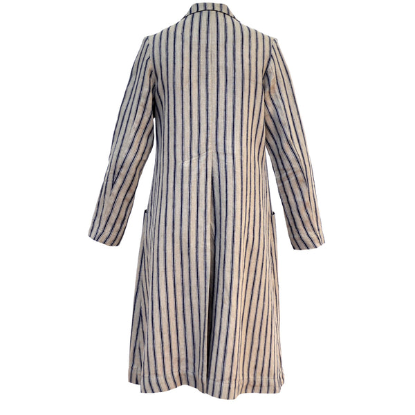 Tiffany Treloar Linen Coat Navy Ticking Back