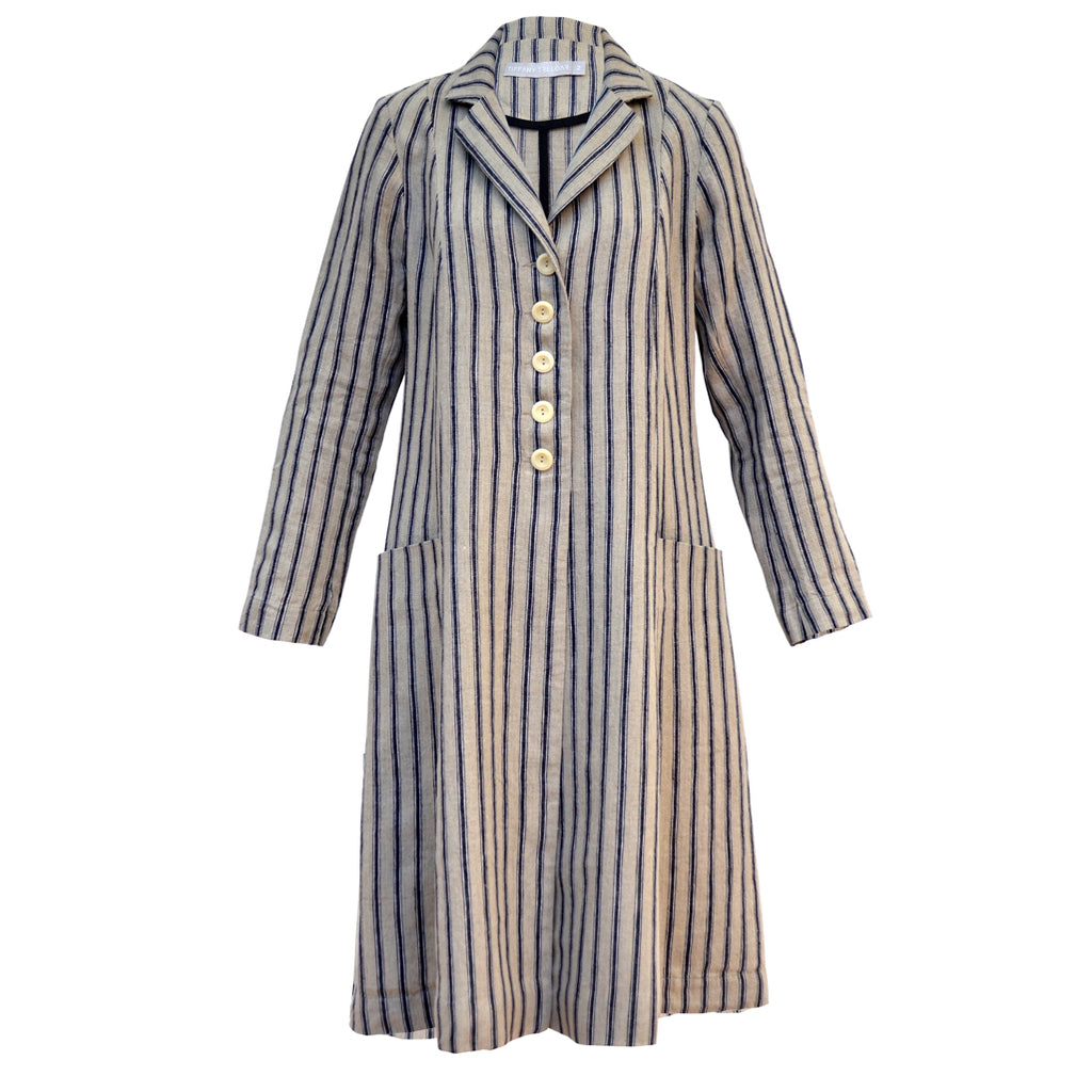 Tiffany Treloar Linen Coat Navy Ticking Front