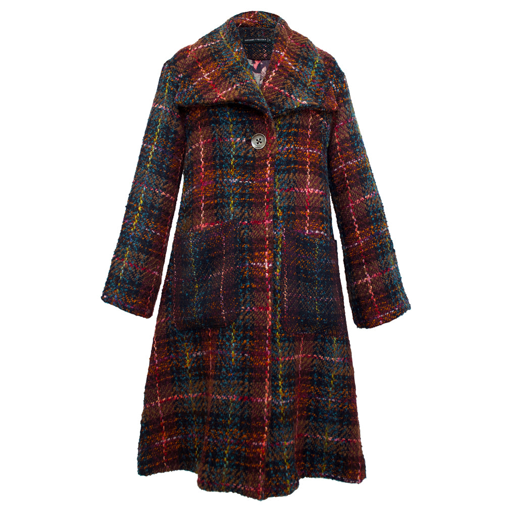 Tiffany Treloar Rose Plaid Wool Coat Front