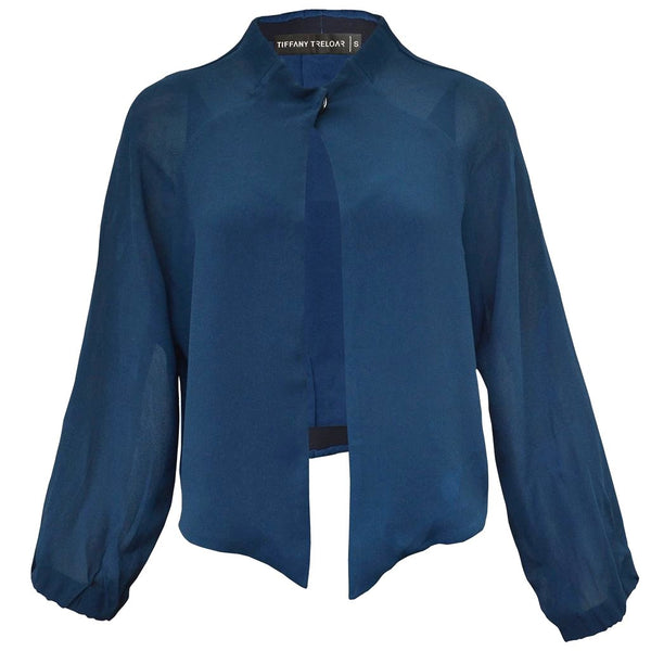 Tiffany Treloar Viscose Jacket Moody Blue Front