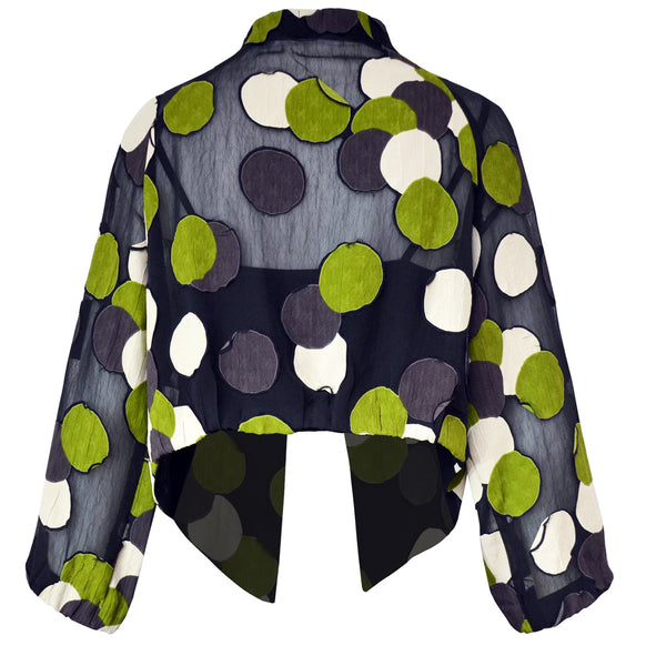 Tiffany Treloar Viscose Georgette Jacket Green Circle Back