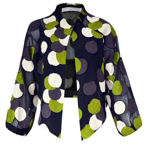 Tiffany Treloar Viscose Georgette Jacket Green Circle Front