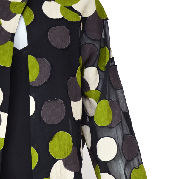 Tiffany Treloar Viscose Georgette Jacket Green Circle Detail