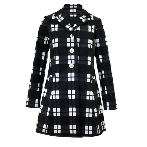 Tiffany Treloar Cotton Car Coat Black Check Front