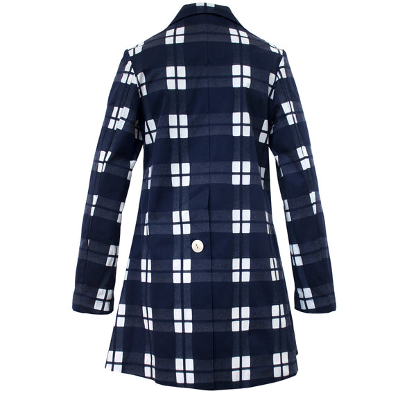 Tiffany Treloar Cotton Car Coat Navy Check Back