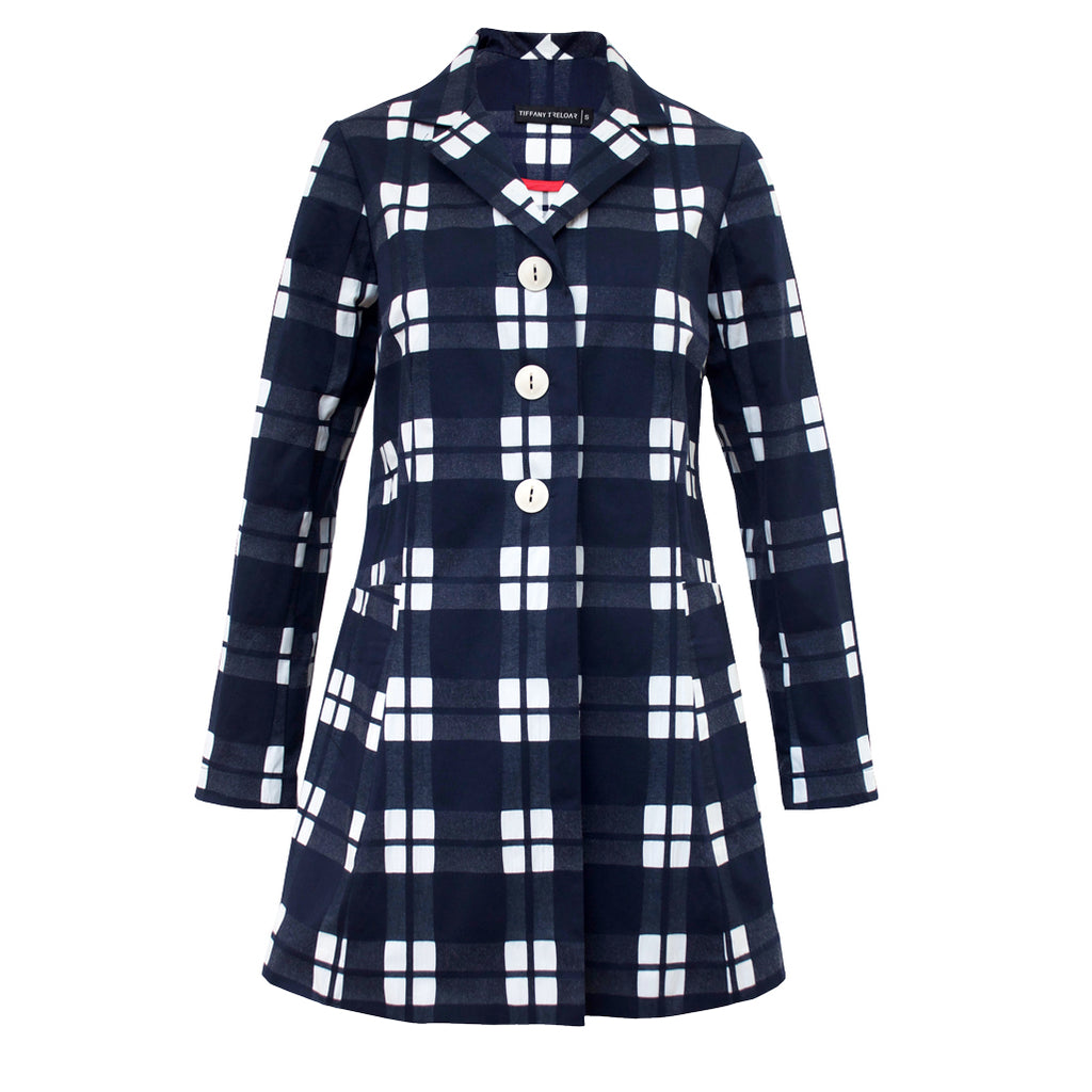 Tiffany Treloar Cotton Car Coat Navy Check Front