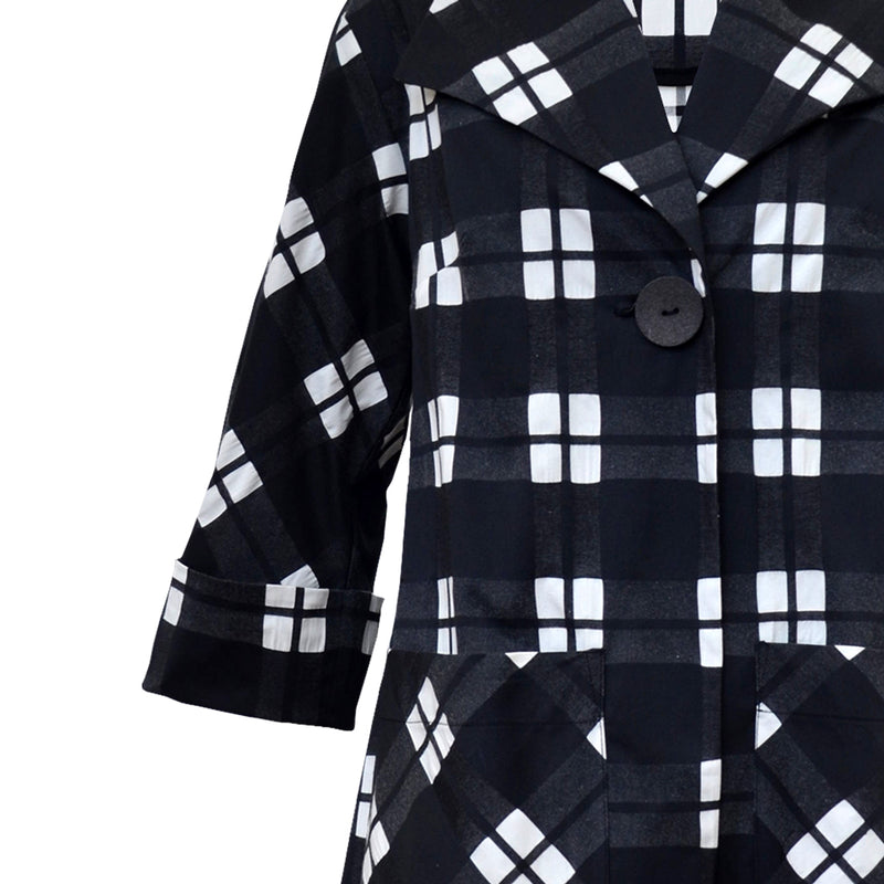 Tiffany Treloar Cotton Coat Black Check Front Detail