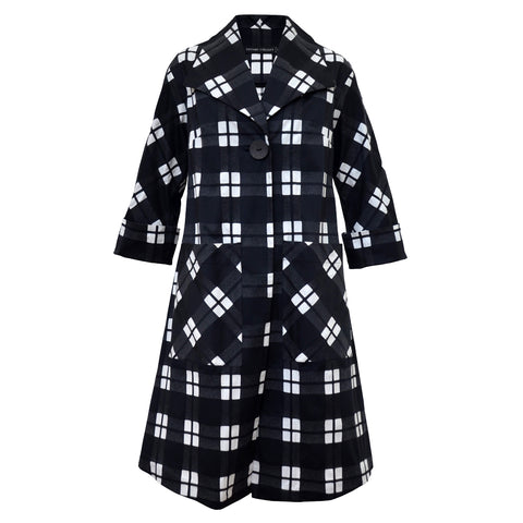 Tiffany Treloar Cotton Coat Black Check Front Cuff