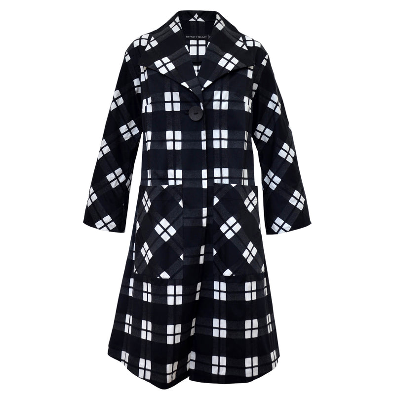 Tiffany Treloar Cotton Coat Black Check Front