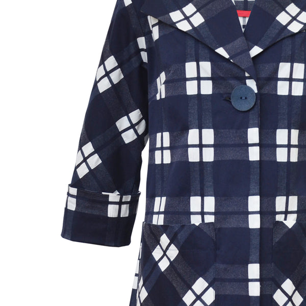 Tiffany Treloar Cotton Coat Navy Check Detail