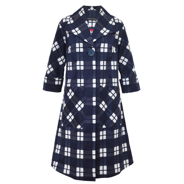 Tiffany Treloar Cotton Coat Navy Check Front Cuff