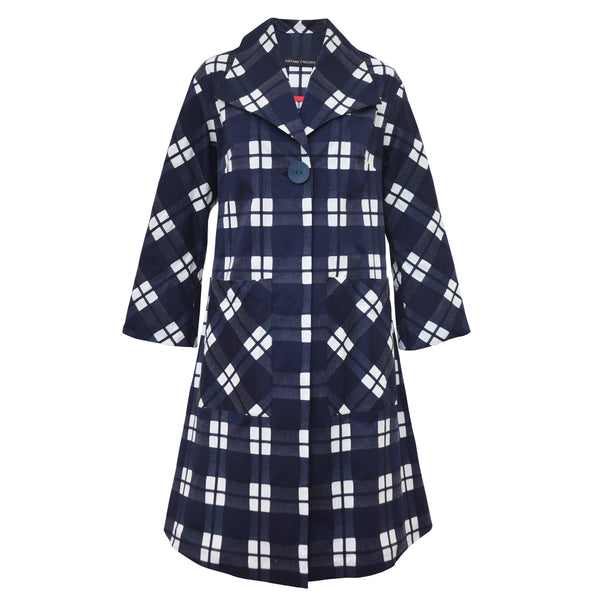 Tiffany Treloar Cotton Coat Navy Check Front