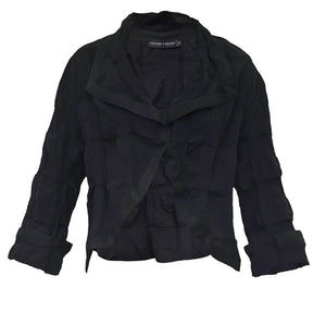 Tiffany Treloar Cotton Seersucker Jacket Black Front