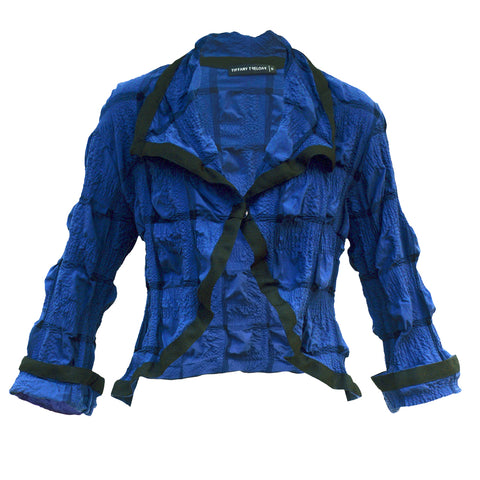 Tiffany Treloar Japanese Cotton Seersucker Opera Jacket Blue Front